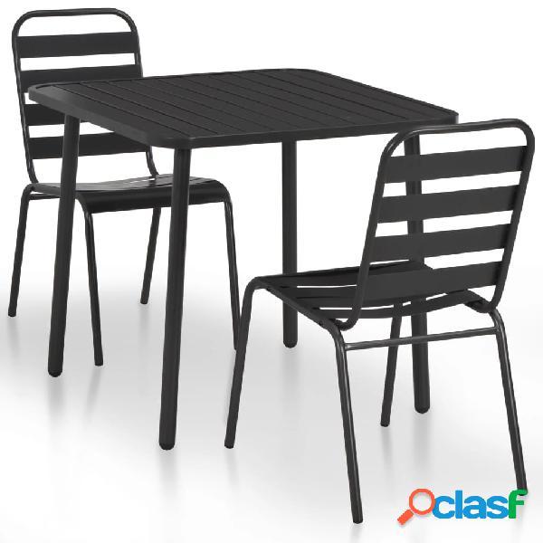 Mesa y sillas de jardín bistró 3 piezas acero gris