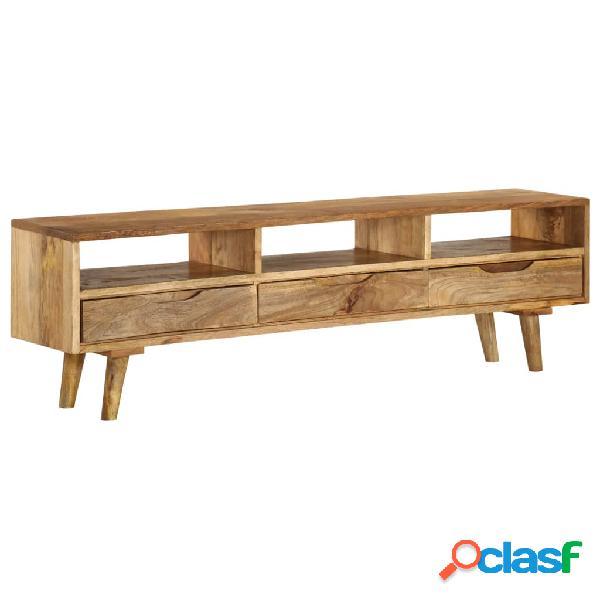 Mueble para TV de madera de mango maciza 140x30x41 cm