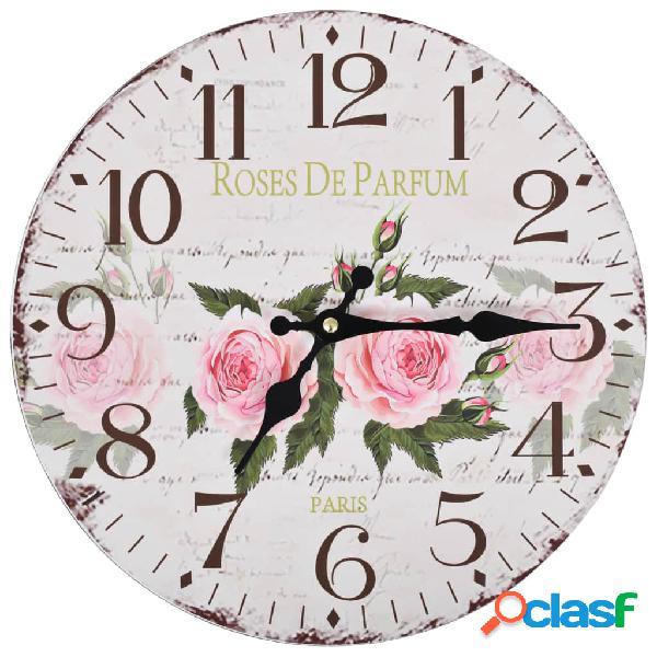 Reloj de pared de cocina vintage con flores 30 cm