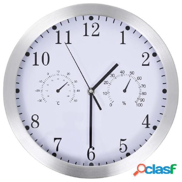 Reloj de pared de cuarzo higrómetro y termómetro 30 cm