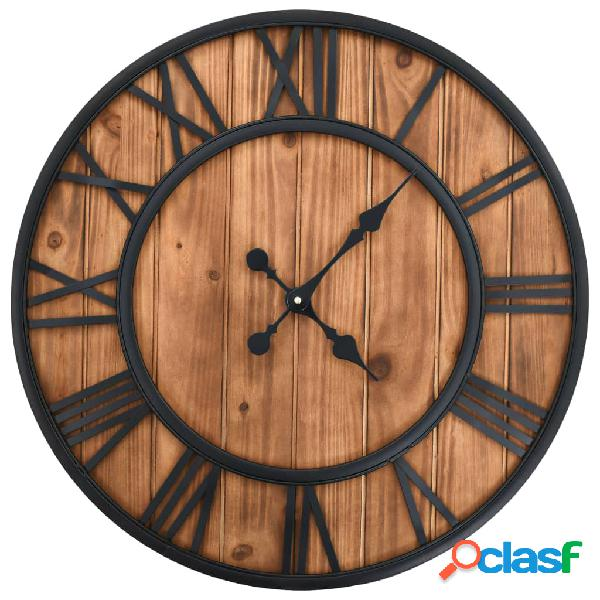 Reloj de pared vintage movimiento cuarzo madera metal 60 cm
