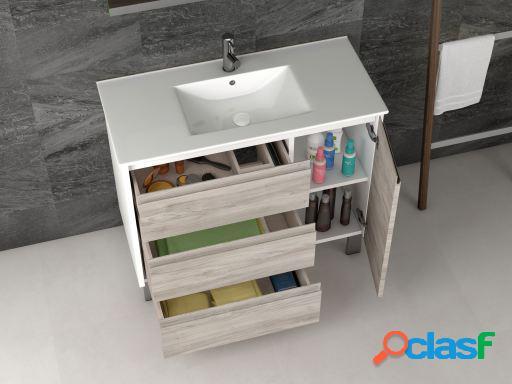 Wellindal Mueble de Baño Wood 100cm Blanco / Roble Natural
