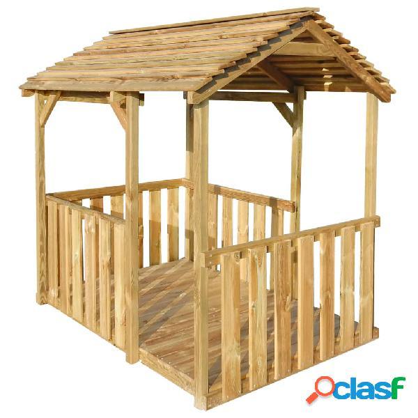 Casa de juegos de jardín de madera de pino 122,5x160x163 cm