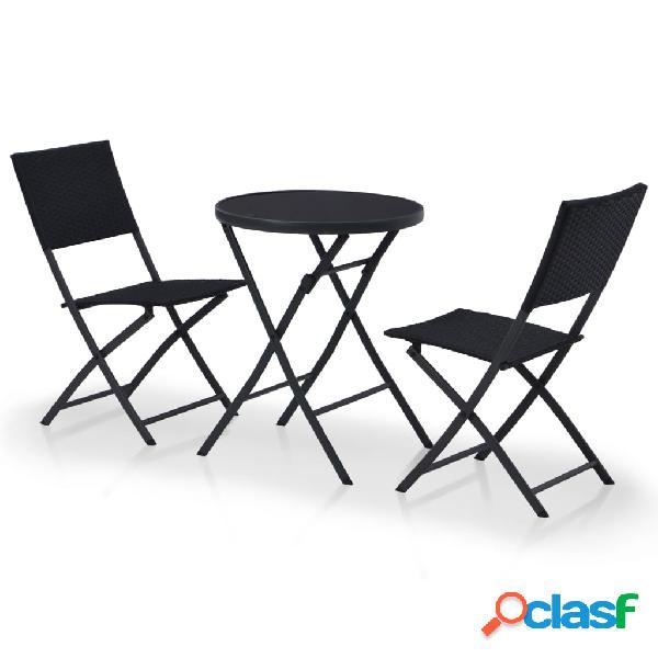 Mesa y sillas bistro de exterior 3 piezas ratán sintético