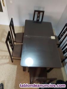 Vendo mesa de comedor de madera moderna 6 plazas extensible