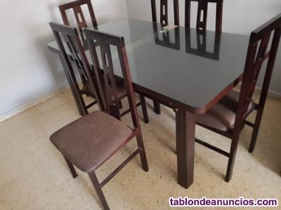Vendo mesa sin cristal 6 sillas madera extensible para
