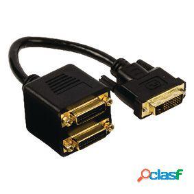 Cable dvi-d 24+1-pin macho - 2x dvi-d 24+1p hembra 0.20 m
