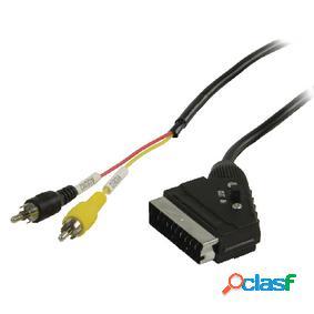 Cable scart rca conmutable scart macho 2 rca macho de 2,00 m