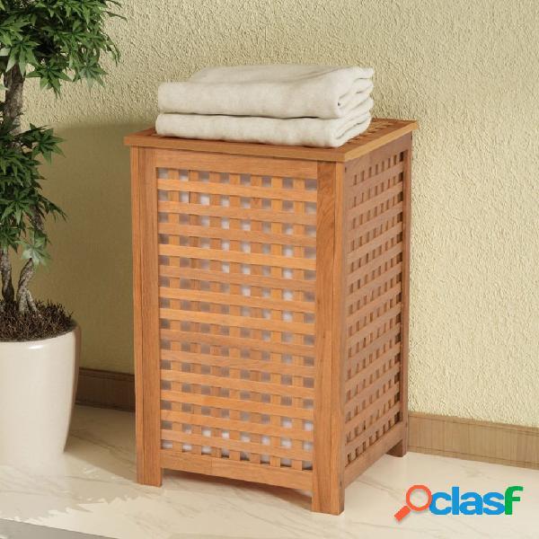 Cesto para ropa sucia madera maciza nogal 39x39x65 cm
