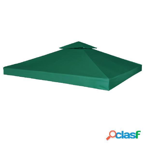 Cubierta de repuesto de cenador 310 g/m² verde 3x3 m