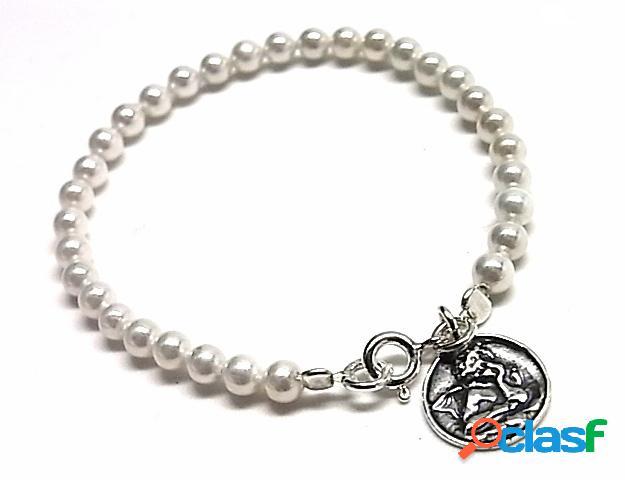 Pulsera de comunion con perlas y medalla de plata de ley