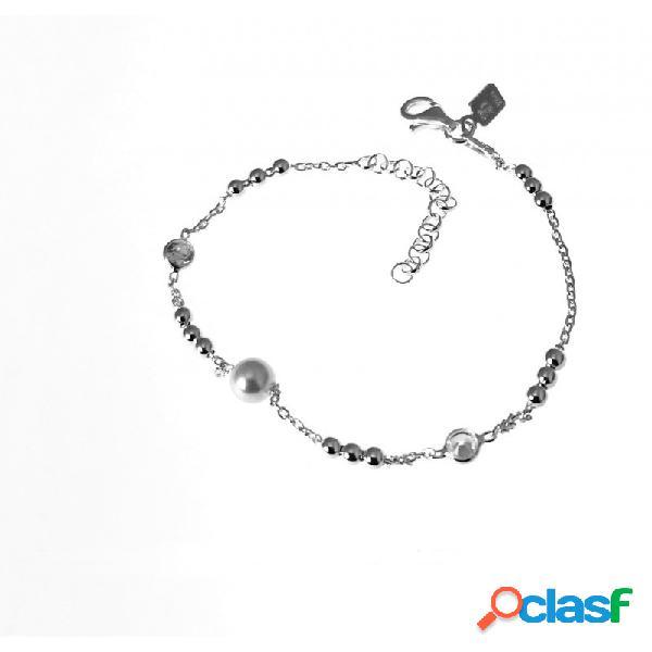 Pulsera infantil con perla, puntos de luz y bolitas de plata