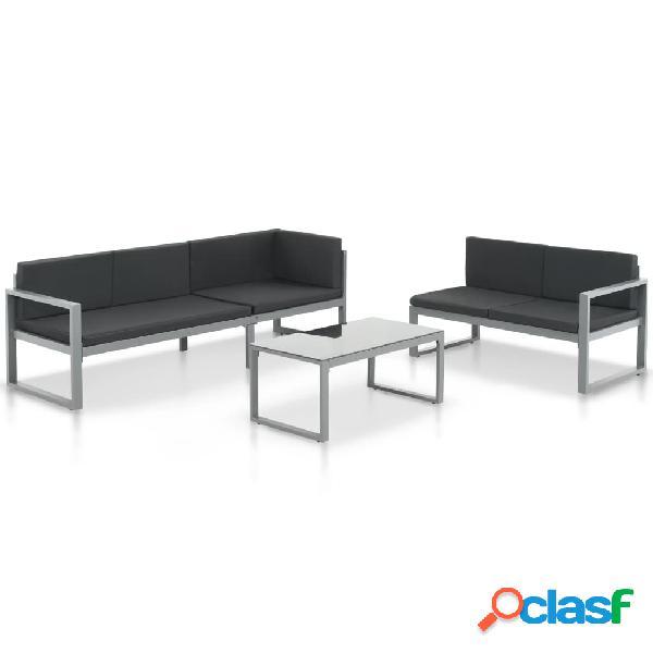 Conjunto de sofás de jardín de aluminio negro 3 piezas