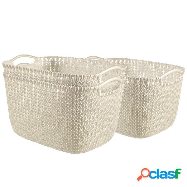 Curver Cestas rectangulares Knit 3 uds tamaño L blanco