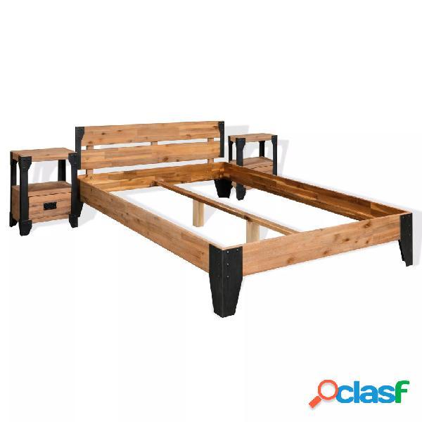 Estructura de cama y 2 mesitas de noche acacia+acero 140x200