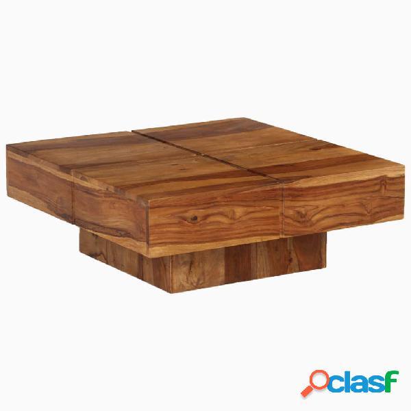Mesa de centro de madera maciza de sheesham 80x80x30 cm