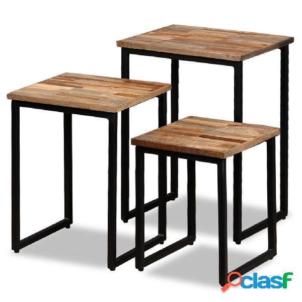 Mesas de centro apilables 3 unidades madera de teca