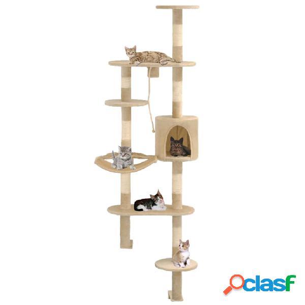 Rascador de gatos de pared con poste de sisal 194 cm beige