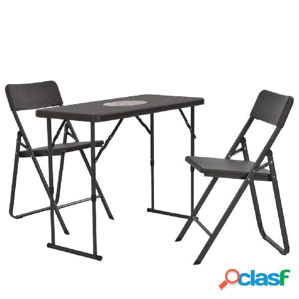 Set mesa y sillas bistró de jardín HDPE aspecto ratán