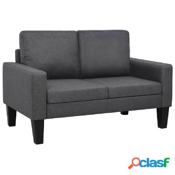 Sofá de 2 plazas de tela gris oscuro