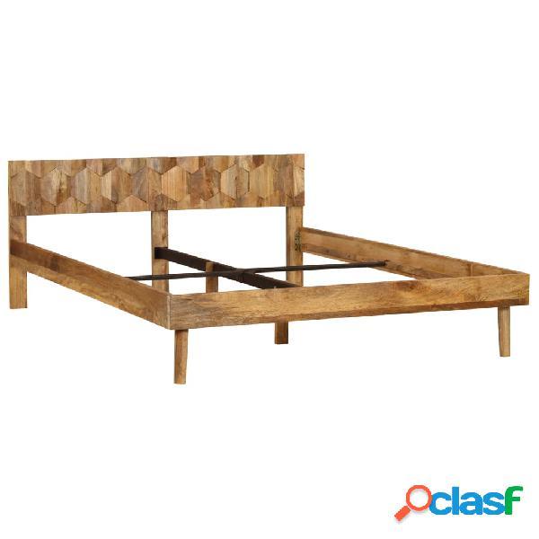 Estructura de cama de madera de mango maciza 1,4 m