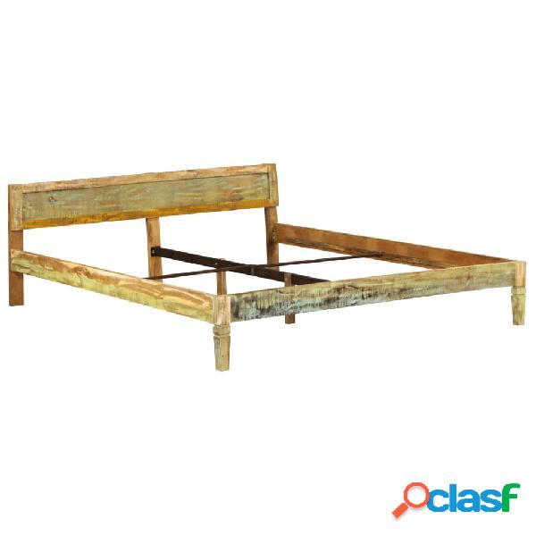 Estructura de cama madera mango maciza acabado envejecido