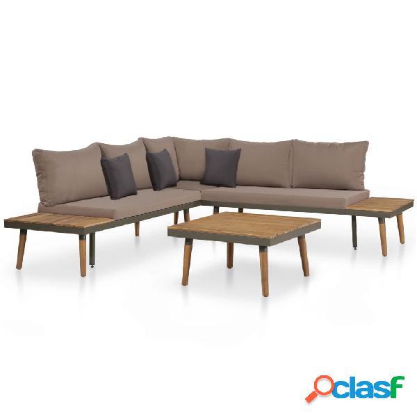 Juego de sofás de jardín 16 piezas madera acacia maciza y