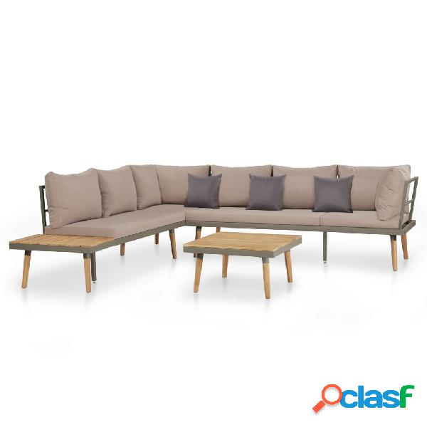 Juego de sofás de jardín 19 piezas madera acacia maciza y