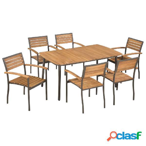 Juego muebles de jardín madera maciza de acacia y acero 7