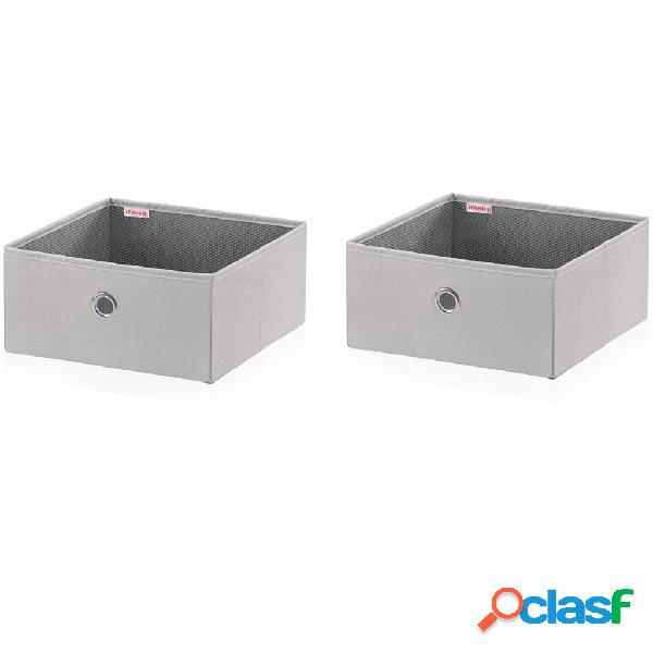 Leifheit Cajas de almacenaje 2 uds gris 27,5x28x13 cm 80008