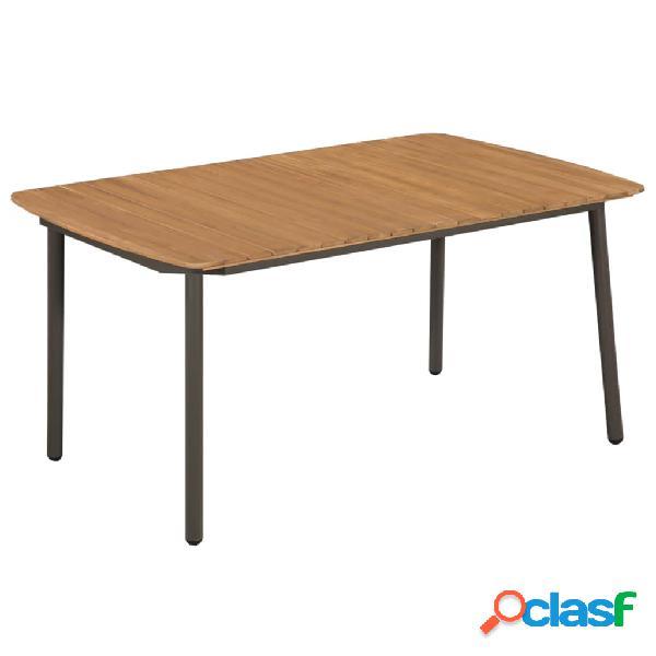 Mesa comedor jardín madera maciza acacia y acero 150x90x72
