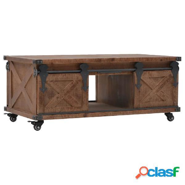 Mesa de centro de madera maciza de abeto marrón 91x51x38 cm