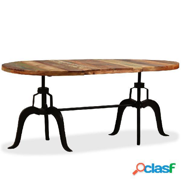 Mesa de salón comedor de madera maciza reciclada y acero
