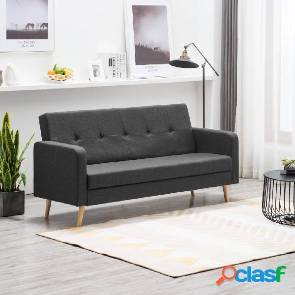 Sofá cama de tela gris oscuro