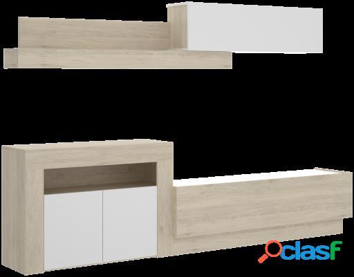 Wellindal Salón Tv con puertas y módulos horizontales