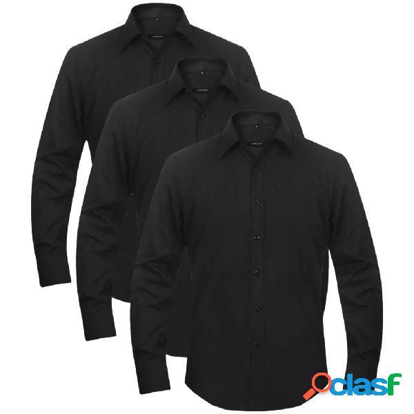 3 camisas de vestir para hombre talla M negro