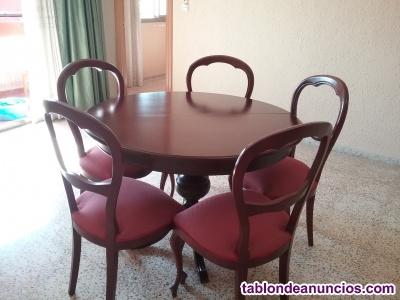 Mesa redonda extensible y seis sillas madera maciza