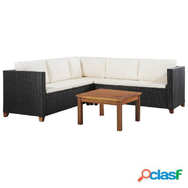 Set de sofás de jardín ratán sintético blanco y negro 15