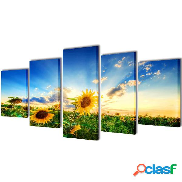 Set decorativo de lienzos para la pared modelo girasoles,