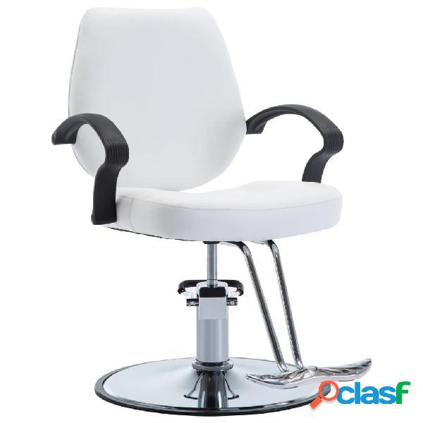 Silla de peluquería de cuero sintético blanca