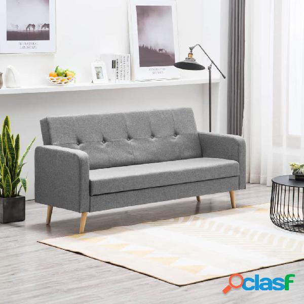 Sofá cama de tela gris claro