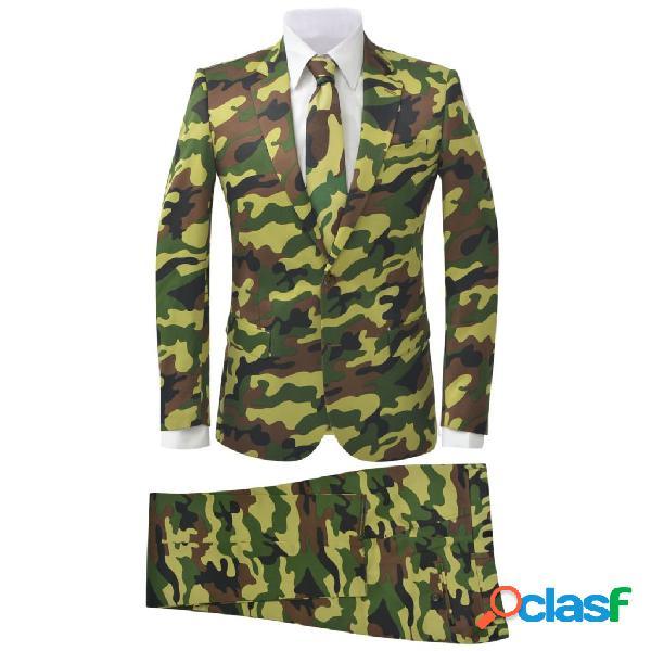 Traje de chaqueta de hombre corbata 2 piezas camuflaje talla