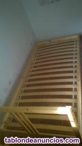 Estructura cama madera + somier láminas 90x200cm