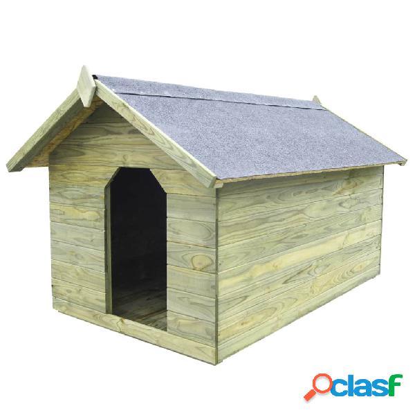 Casa de perros de jardín tejado abierto madera pino
