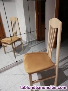 Mesa de cristal biselado y seis sillas