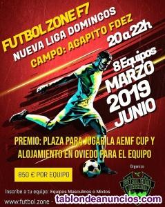 Nueva liga f7 domingos de 20 a 22h en agapito fdez