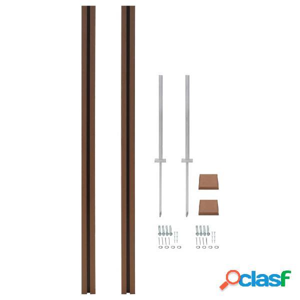 Poste de valla de WPC de repuesto 2 uds 185 cm marrón