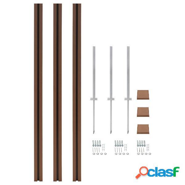 Poste de valla de WPC de repuesto 3 uds 185 cm marrón