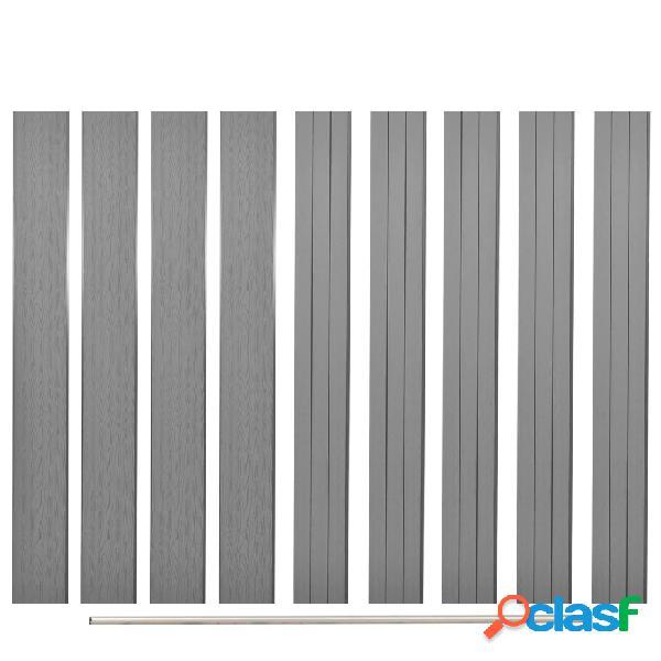 Poste de valla de WPC de repuesto 9 uds 170 cm gris