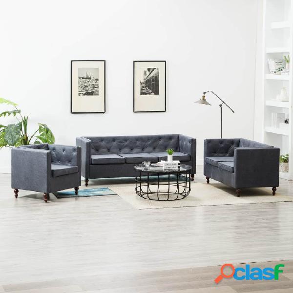 Set de sofá Chesterfield 3 piezas tapizado de tela gris